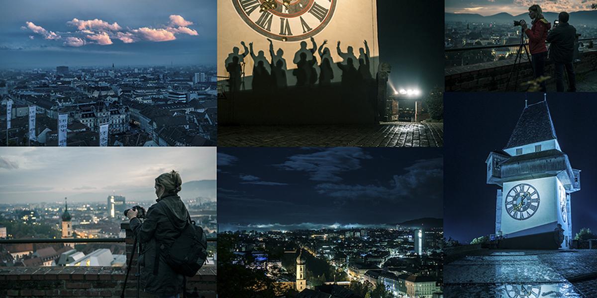 Graz,Nachtaufnahme, Nachtfoto, Langzeitbelichtung, blaue Stunde