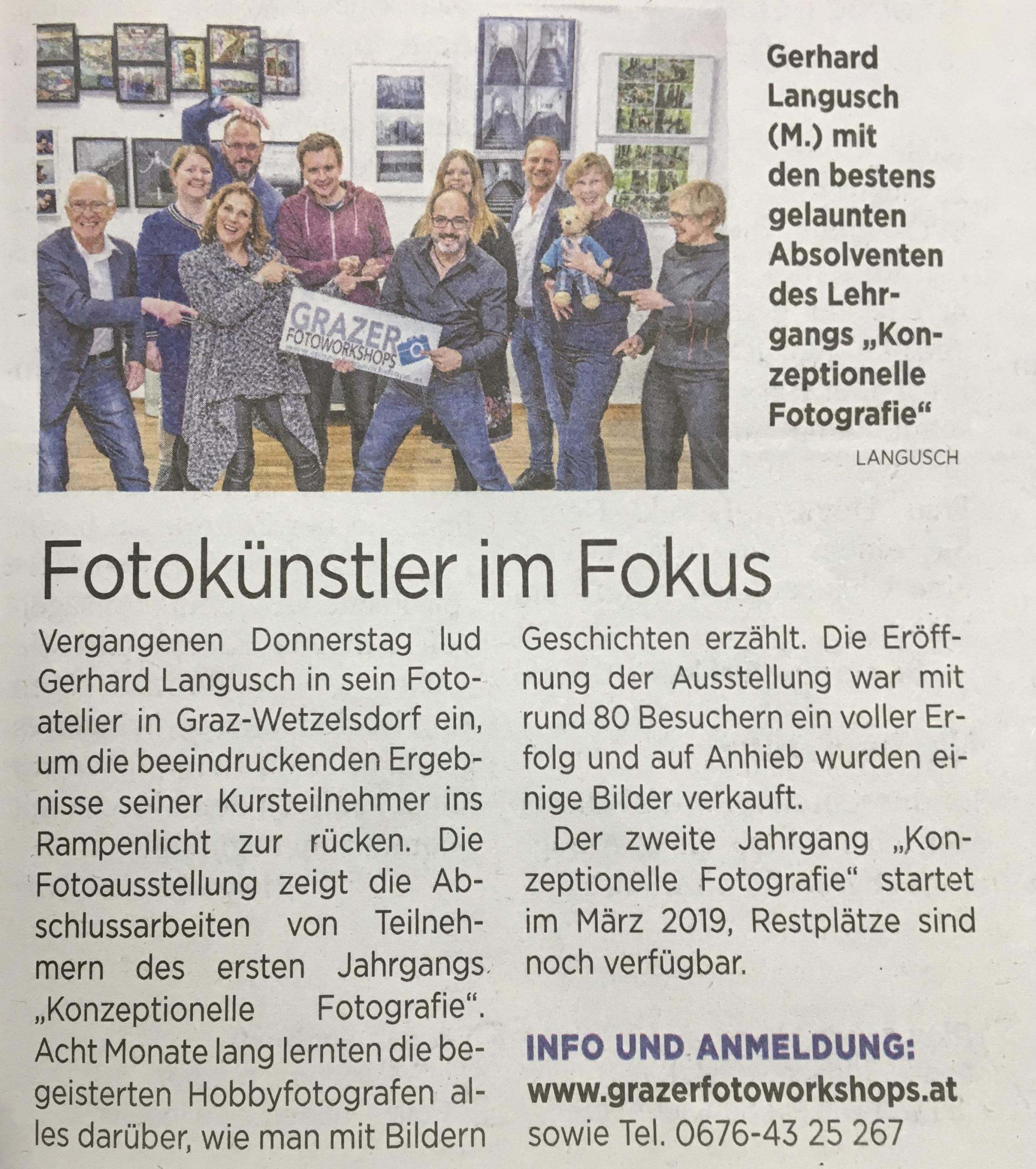 Kleine Zeitung Pressebericht - Grazer Fotoworkshops